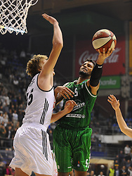 Uros Lukovic #55 of Partizan vs Devin Oliver #5 of KK Union Olimpija during basketball match between KK Partizan Beograd and KK Union Olimpija Ljubljana in Round #5 of ABA League 2016/17, on October 16, 2016 in Beograd, Serbia. Photo by Nebojsa Parausic / Sportida