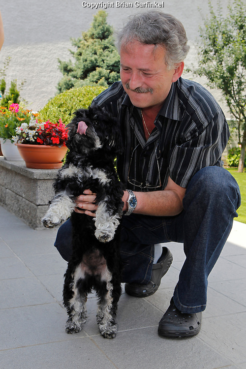 Peter and Lilly at Peter's house in Zilina, Slovakia on Thursday, July 7th 2011.  (Photo by Brian Garfinkel)