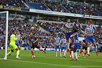 Football - 2021 / 2022 Premier League - Brighton & Hove Albion vs Leicester City - Amex Stadium - Sunday 19th September 2021<br /> <br /> Wilfred Ndidi of Leicester City climbs highest to head in what he thinks is another equaliser for Leicester only for his goal to be ruled out for offside at The Amex Stadium Brighton <br /> <br /> COLORSPORT/Shaun Boggust