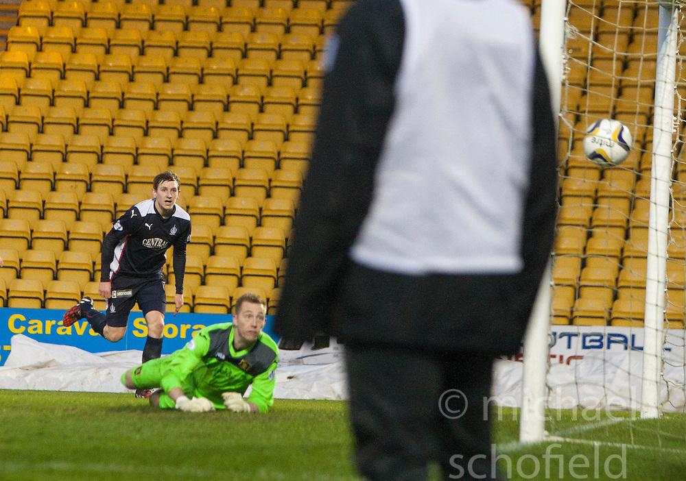 Falkirk's Blair Alston scoring their goal.<br /> Livingston 0 v 1 Falkirk, Scottish Championship played13/12/2014 at The Energy Assets Arena.