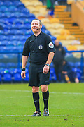 Referee Lee Swabey during the The FA Cup match between Mansfield Town and Dagenham and Redbridge at the One Call Stadium, Mansfield, England on 29 November 2020.