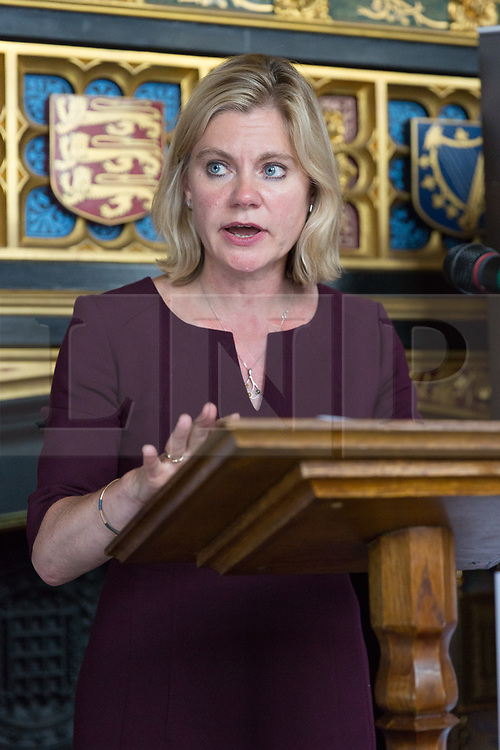 © Licensed to London News Pictures. 18/07/2017. LONDON, UK.  JUSTINE GREENING, Education Secretary and Minister for Women and Equality speaking at a Pink News parliamentary reception to celebrate the 50th anniversary of decriminalisation on homosexuality, held at Speaker's House in the Palace of Westminster in London.  Photo credit: Vickie Flores/LNP