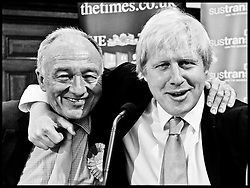 Boris Johnson gets his opponent Ken Livingstone in a head lock during the London Mayor Campaign Photo By Andrew Parsons/i-ImagesPhoto By Andrew Parsons/i-Images