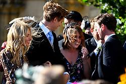 Sienna Miller, Lucas Zwirner and Princess Beatrice of York leave York Minster after the wedding of singer Ellie Goulding and Caspar Jopling.