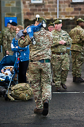 Pictured: <br /> Glencouirse Barracks saw off 100 soldiers from 2 SCOTS today as they prepared to deploy to Iraq on a six month training and mentoring mission. The soldiers will deploy on what is known as Operation Shader, on a six month tour which is a different challenge from their previous combat roles in the country. Just over 100 personnel will depart from Glencorse, to join the advance party which is already in the country.<br /> <br /> Ger Harley | EEm 4 December 2017