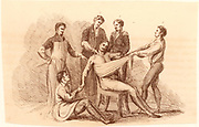 Surgeon and his assistants, before the introduction of anaesthetics, prepared to perform an amputation at the shoulder.  Surgeon stands, left, next the assistant surgeon (behind patient). An assistant on the ground supports the arm to be removed, and the two figures standing on the right support the patient.  Bell's comment on this operation was 'It requires decision and rapidity; and the knife is to be handled more like a sabre, than a Surgeon's scapel'.   Engraving from 'Illustrations of the Great Operations of Surgery' by Charles Bell (London, 1821).
