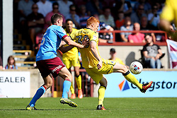 Rory Gaffney of Bristol Rovers under pressure from Murray Wallace of Scunthorpe United  - Mandatory by-line: Matt McNulty/JMP - 06/08/2016 - FOOTBALL - Glanford Park - Scunthorpe, England - Scunthorpe United v Bristol Rovers - Sky Bet League One