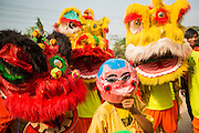 29 MARCH 2012 - TAY NINH, VIETNAM:   Vietnamese Lion dancers wait to perform at the grand opening of a new business on highway AH1 near Tay Ninh, Vietnam. Lion dancers are hired to help ensure  good luck and prosperity for the business. PHOTO BY JACK KURTZ