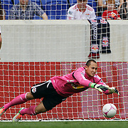 Luis Robles, New York Red Bulls, makes a save during the New York Red Bulls V Chicago Fire Major League Soccer regular season match at Red Bull Arena, Harrison. New Jersey. USA. 6th October 2012. Photo Tim Clayton