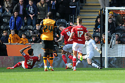 Marlon Pack of Bristol City challenges for the ball with Sone Aluko of Hull City  - Mandatory by-line: Dougie Allward/JMP - 02/04/2016 - FOOTBALL - KC Stadium - Hull, England - Hull City v Bristol City - Sky Bet Championship