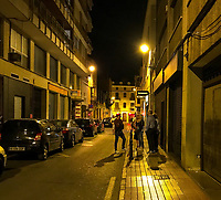 After dining at Plan B Restaurant in Castellon de la Plana in Spain on great wine and delicious tapas the group stands outside on the old European street.