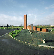 A business park under construction at Speke on the Mersey near Liverpool. The Mersey is a river in north west England which stretches for 70 miles (112 km) from Stockport, Greater Manchester, ending at Liverpool Bay, Merseyside. For centuries, it formed part of the ancient county divide between Lancashire and Cheshire.