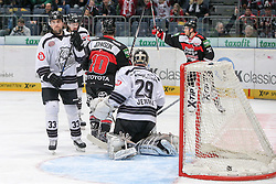 19.12.2014, Lanxess Arena, Koeln, GER, DEL, Koelner Haie vs Nuernberg Ice Tigers, 28. Runde, im Bild Tor fuer Koeln. Vorne Keeper Andreas Jenike (Nuernberg Ice Tigers), links Fredrik Eriksson (Nuernberg Ice Tigers), von hinten James Johnson (Koelner Haie) // during Germans DEL Icehockey League 28th round match between Koelner Haie vs Nuernberg Ice Tigers at the Lanxess Arena in Koeln, Germany on 2014/12/19. EXPA Pictures © 2014, PhotoCredit: EXPA/ Eibner-Pressefoto/ Kohring<br /> <br /> *****ATTENTION - OUT of GER*****