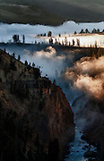 The early morning mist burns off at the Narrows of the Yellowstone River.