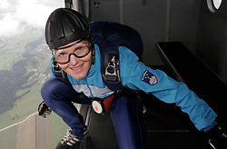 Irena Avbelj, several times World Champion in Freefall Style and Accuracy Landing and in Para-ski at training, on September 21, 2005, in Lesce-Bled, Slovenia. (Photo by Vid Ponikvar / Sportal Images)