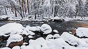 The Merced River in winter, Yosemite National Park, California USA