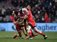 Rugby Union - 2019 / 2020 Gallagher Premiership - Harlequins vs. Saracens<br /> <br /> Harlequins' Cadan Murley is tackled by Saracens' Dom Morris (r) and Alex Lozowski, at The Stoop.<br /> <br /> COLORSPORT/ASHLEY WESTERN