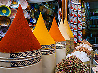 MARRAKESH, MOROCCO - CIRCA APRIL 2017: Colorful Spices on the souq in Marrakesh