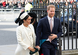The Duke and Duchess of Sussex attend the Commonwealth Day service at Westminster Abbey in London on March 11, 2019.