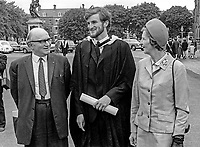 George Pollock, Omagh, Co Tyrone, who graduated Queen's University, Belfast, 6th July 1970, with his parents, Mr Bertie Pollock and Mrs Rose Pollock. 197007060247GP<br />
