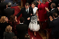 King Felipe of Spain, Queen Letizia of Spain, Paloma Rocasolano attended the 'Princesa de Asturias Awards 2017 (Princess of Asturias awards)' ceremony at the Campoamor Theater on October 20, 2017 in Oviedo, Spain.