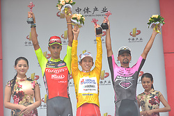 September 24, 2017 - Zhuhai, Guangdong, China - (Left-Right) Mirko Trosino (Wilier Triestina - Selle Italia), Kevin Rivera Serran (Androni Sidermec Bottecchia) and Mauricio Ortega Ramirez (RTS - Monton Racing Team) - the Podium of the 2017 Tour of China 2. .On Sunday, 24 September 2017, in Hengqin district, Zhuhai City, Guangdong Province, China. (Credit Image: © Artur Widak/NurPhoto via ZUMA Press)