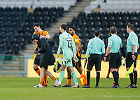 Hull City's Keane Lewis-Potter is embraced by Jacob Greaves at the end of the match<br /> <br /> Photographer Lee Parker/CameraSport<br /> <br /> The EFL Sky Bet League One - Hull City v Oxford United - Saturday 13th March 2021 - KCOM Stadium - Kingston upon Hull<br /> <br /> World Copyright © 2021 CameraSport. All rights reserved. 43 Linden Ave. Countesthorpe. Leicester. England. LE8 5PG - Tel: +44 (0) 116 277 4147 - admin@camerasport.com - www.camerasport.com