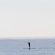 Paddle surfers at Malibu Beach.