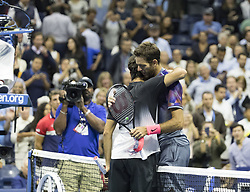 September 6, 2017 - New York, New York, United States - Juan Martin del Potro of Argentina embraces Roger Federer of Switzerland at US Open Championships at Billie Jean King National Tennis Center  (Credit Image: © Lev Radin/Pacific Press via ZUMA Wire)