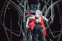 © Licensed to London News Pictures. 30/09/2013. Welsh National Opera present Roberto Devereux by Gaetano Donizetti, from their Tudor Season at the Millennium Centre, Cardiff. Picture shows Alexandra Deshorties (Elizabeth I). Photo credit: Tony Nandi/LNP.
