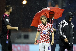 ZAGREB, Sep 2, 2017  Luka Modric of Croatia left the field after referee, in conjunction with the FIFA Match Commissioner, has decided to abandon the match between Croatia and Kosovo at the Maksimir stadium in Zagreb, capital of Croatia, September 2, 2017. Match abandoned in 22nd minute due to unsuitable pitch conditions. (Credit Image: © Goran Stanzl/Pixsell/Xinhua via ZUMA Wire)