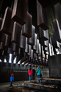 The National Memorial for Peace and Justice, informally known as the National Lynching Memorial, a national memorial to commemorate the victims of lynching in the United States on 3rd March 2020 in Montgomery, Alabama, United States. The memorial, opened in 2018, features steel monuments dangling like bodies is the brainchild of Bryan Stevenson, who was inspired by the Holocaust memorials in Europe and by the post-Apartheid Truth and Reconciliation process in South Africa.  800 six-foot monuments hang in rows, with each coffin shape representing a county where a racial terror lynching took place. Incorporated into each monument are the names of the racial terror lynching victims and the date of their murder engraved on it. Current research shows that 4,084 African Americans were lynched between 1877 and 1950. More than 85% of the lynchings took place in the Southern states.