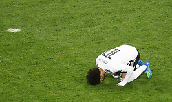 Egypt's Mohamed Salah celebrates scoring his side's first goal of the game from the penalty spot during the FIFA World Cup 2018, Group A match at Saint Petersburg Stadium.
