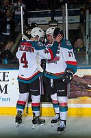 KELOWNA, CANADA - MARCH 24: Gordie Ballhorn #4 and Rodney Southam #17 of the Kelowna Rockets celebrate the win against the Kamloops Blazers on March 24, 2017 at Prospera Place in Kelowna, British Columbia, Canada.  (Photo by Marissa Baecker/Shoot the Breeze)  *** Local Caption ***