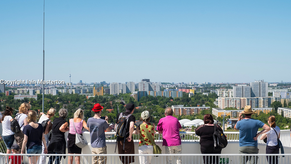 visitors on viewpoint looking at skyline of Berlin at IFA 2017 International Garden Festival (International Garten Ausstellung) in Berlin, Germany
