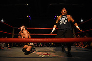 """Steve """"Monsta"""" Mack lets out a roar after taking down Johnny Gargano at the Beyond Wrestling Organization's """"Dream Left Behind"""" event, held at the Center for Arts at the Armory in Somerville, Sunday, Jan. 31, 2016."""