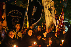 May 19, 2017 - Thessaloniki, Greece - The Pontic Greeks march to the Turkish Embassy, carrying their traditional Flags for the Celebration of the Anniversary of the genocide of Pontian Greeks and Armeniansin. Thessaloniki May 19, 2017  (Credit Image: © Grigoris Siamidis/NurPhoto via ZUMA Press)