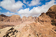 View over the rock canyons of Petra, Jordan.