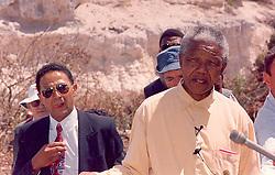 Nelson Mandela addresses the press whilst visiting Robben Island.