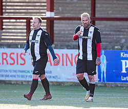 Ryan Stevenson celebrates after scoring their first goal. Sepsis Soccer Aid this afternoon played at Stenhousemuir Football Club, Former St Mirren, Dunfermline, Ayr United and Alloa Athletic player Scott Walker organised the fundraising match between an all-star select of Scott's former teammates, including former Old Firm players and Scotland internationals, and the Scotland Seniors football squad, which Scott's been an integral part of for the past two years. The game was sponsored by #YourEquipmentSolutions #YESHire #Planthire