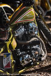 Nick Pencil's custom Harley-Davidson Panhead in the Cycle Source Magazine show at the Broken Spoke Saloon during Daytona Beach Bike Week. FL. USA. Tuesday, March 14, 2017. Photography ©2017 Michael Lichter.