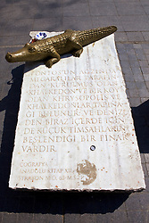 Stone Marker With Crocodile