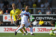 Joe Thompson shot is saved during the EFL Sky Bet League 1 match between Burton Albion and Rochdale at the Pirelli Stadium, Burton upon Trent, England on 4 August 2018.