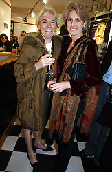 Left to right, sisters the HON.LAVINIA BOLTON and COUNTESS ALEXANDER OF TUNIS at the opening of Jack O'Shea's butcher, Montpelier Street, London on 9th November 2006.  <br /><br /><br />NON EXCLUSIVE - WORLD RIGHTS