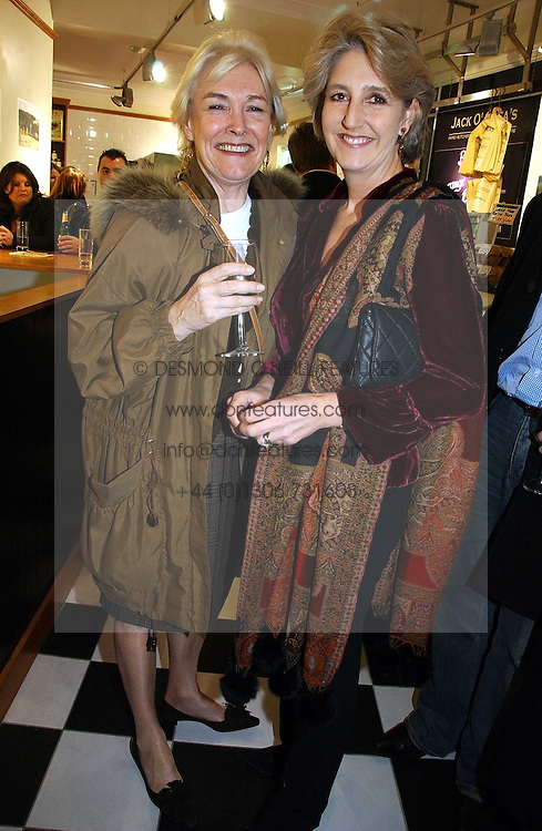 Left to right, sisters the HON.LAVINIA BOLTON and COUNTESS ALEXANDER OF TUNIS at the opening of Jack O'Shea's butcher, Montpelier Street, London on 9th November 2006.  <br />