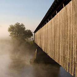 The Mount Orne covered bridge spans the Connecticut River between Lunenburg, Vermont and Lancaster, New Hampshire.
