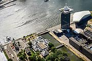 Nederland, Noord-Holland, Amsterdam-Noord, 01-08-2016; IJ-oevers, Buiksloterweg en Overhoeks met A'DAM Toren (voormalige Shell-toren) en Eye filmmuseum. Onder in beeld voormalige bedrijfskantine Shell en Tolhuistuin.<br /> Banks of IJ and Overhoeks with A'DAM Tower (former Shell Tower) and Eye Film Museum.<br /> luchtfoto (toeslag op standard tarieven);<br /> aerial photo (additional fee required);<br /> copyright foto/photo Siebe Swart