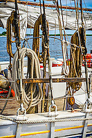 Ropes at the ready aboard the AJ Meerwald, dockside at Bayside Center at Bivalve on The Maurice River.
