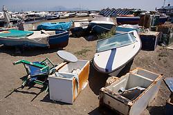 Boat junk yard in bay of Naples; Italy