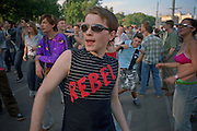 Moscow, Russia, 19/07/2003..Dancers at an all day rave party in a central Moscow park.